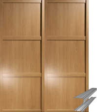 Shaker Style Windsor Oak Panel Door & Track Set to suit an opening width of 1498mm